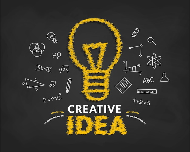 Creative ideas concept with doodle light bulb and typography lettering of idea background