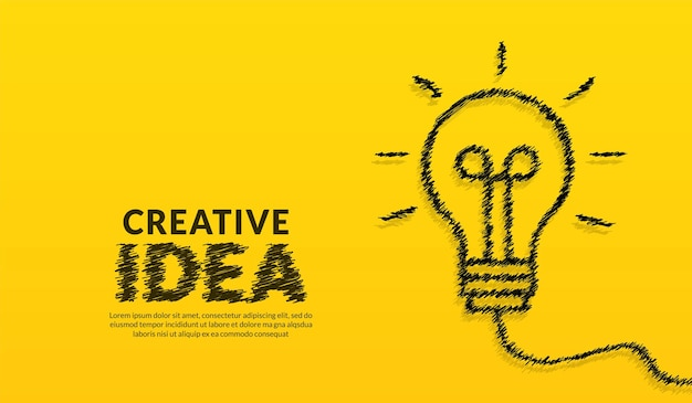 Creative ideas concept with doodle light bulb and typography lettering of idea on yellow background