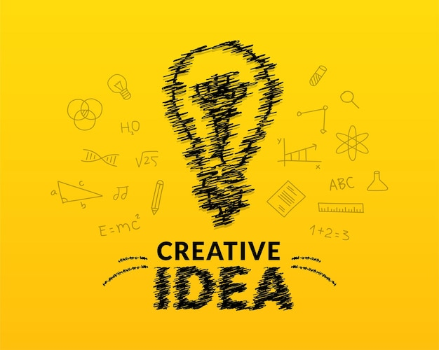 Creative ideas concept with doodle light bulb and typography letteringbackground inspiration