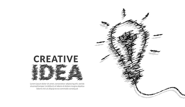 Creative ideas concept with doodle pencil and typography lettering background inspiration