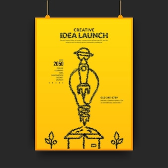 Creative ideas and innovation concept with light bulb rocket launching out of the box poster
