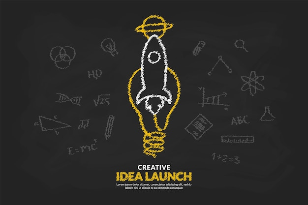 Creative ideas with light bulb and rocket launching to space background, start up idea concept