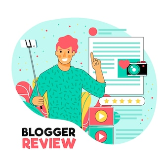 Creative illustrated blogger review concept