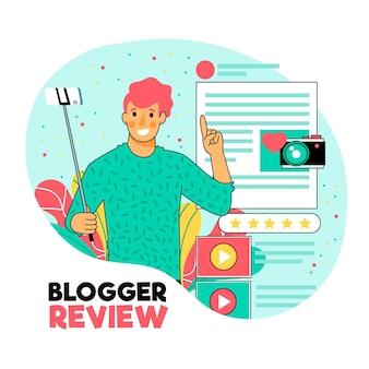 Креативная иллюстрированная концепция обзора блоггера