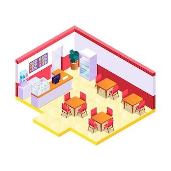 Creative illustrated isometric restaurant