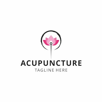 Creative illustration acupuncture with lotus flower logo design vector sign