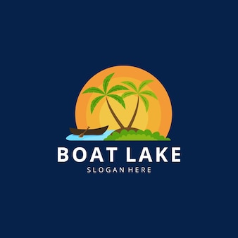 Creative illustration beautiful canoe on lake sign design vector graphic outdoor fishing colorful