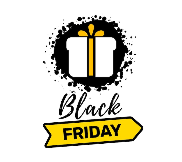 Creative illustration of black friday sale inscription typography with present and ribbon on white color background. t