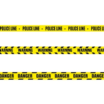 Creative illustration of black and yellow police stripe border. set of danger caution tapes.