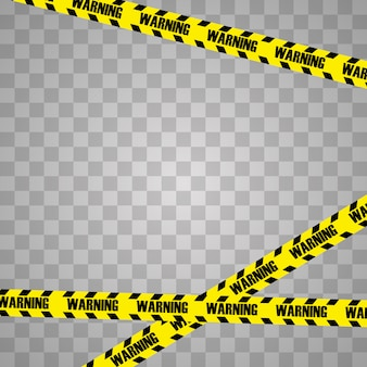 Creative illustration of black and yellow police stripe border.