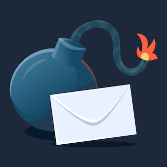 Creative illustration of bomb with a burning wick. cartoon style design of bomb with letter