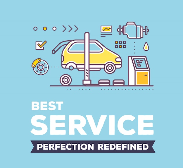Creative illustration of car service workshop on blue background with header and line auto accessories.
