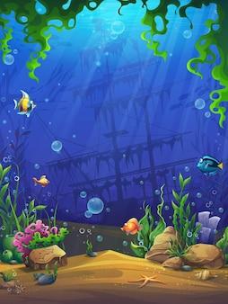 Творческая иллюстрация мультфильм яркий подводный фон иллюстрация