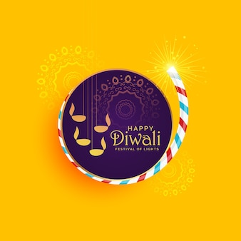 Creative illustration of diwali festival of light with burning cracker
