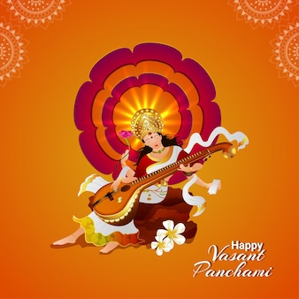 Creative illustration of goddess saraswati happy vasant panchami