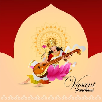 Creative illustration of goddess saraswati for happy vasant panchami