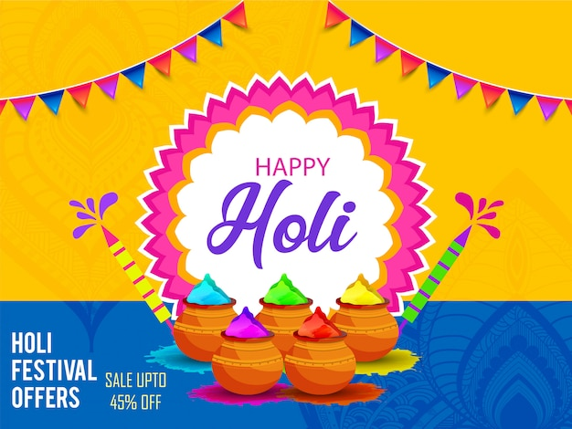 Creative illustration of happy holi poster
