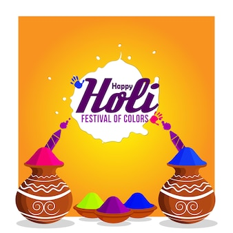 Creative illustration of happy holi with color bowl and colorgun
