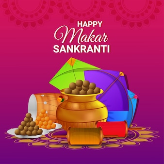 Creative illustration for happy makar sankranti