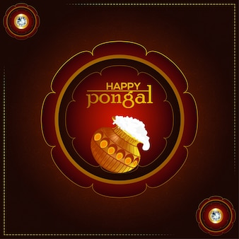 Creative illustration of happy pongal with mud pot and background