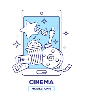 Creative illustration of mobile phone with popcorn