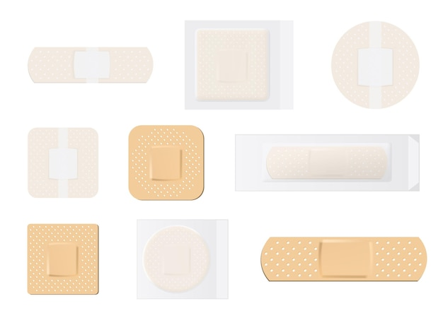 Креативная иллюстрация набора пластырей пластыря пластыря эластичного медицинского
