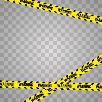 黒と黄色の警察ストライプボーダーのクリエイティブイラスト。