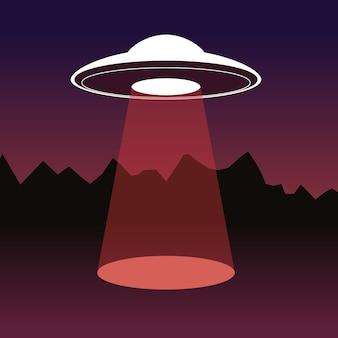 Творческая иллюстрация летающей тарелки с пятном света на темном фоне