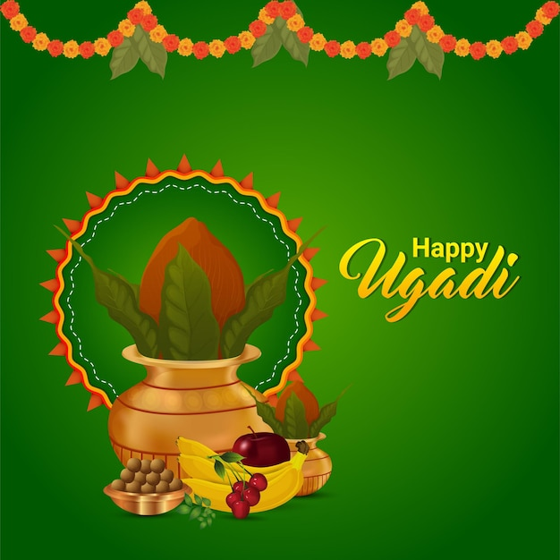Gudi padwa 축하 인사말 카드 및 배경의 창의적인 그림