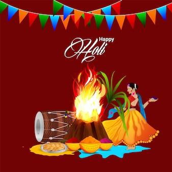 드럼 및 컬러 파우더와 함께 행복한 holi의 창조적 인 그림