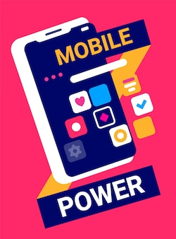 헤더와 빨간색 배경에 응용 프로그램 아이콘으로 휴대 전화의 창조적 인 그림