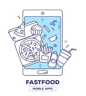 Творческая иллюстрация мобильного телефона с пиццей