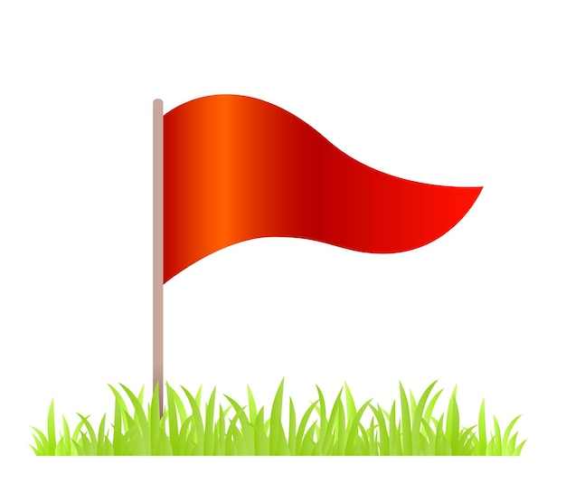 草と白い背景の上の赤い旗の創造的なイラスト