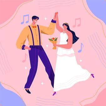 結婚式のカップルのクリエイティブイラスト
