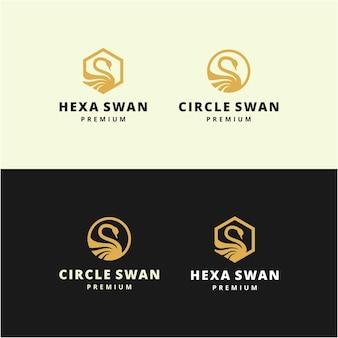 クリエイティブなイラストシンプルでモダンな白鳥の鳥の動物のデザインきれいなロゴのデザインテンプレート