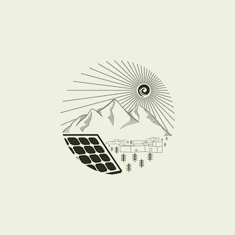 일출 기호 디자인 벡터로 태양 전지 패널과 크리 에이 티브 그림 간단한 산 로고