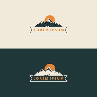 크리에이 티브 일러스트 간단한 산 야외 빈티지 로고 디자인 벡터 그래픽