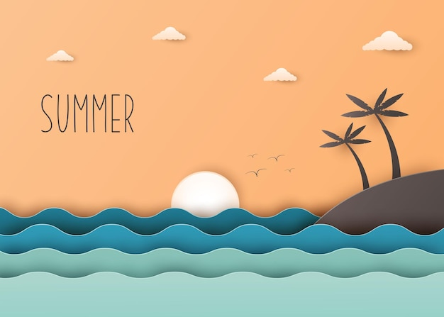 Creative illustration summer background concept paper cut style with landscape of sea wave and beach with palm tree