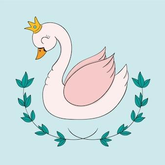 Creative illustration of swan princess