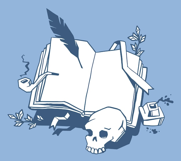 Creative illustration of white color opening book with bookmark, bird feather, inkwell, smoking pipe, human skull on blue background.