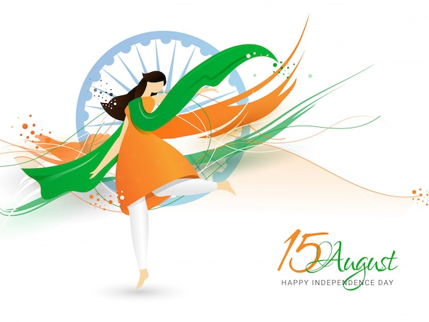 Creative illustration of woman wearing tricolor cloth and dancing. happy indian independence day