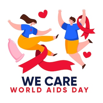 Creative illustration of world aids day