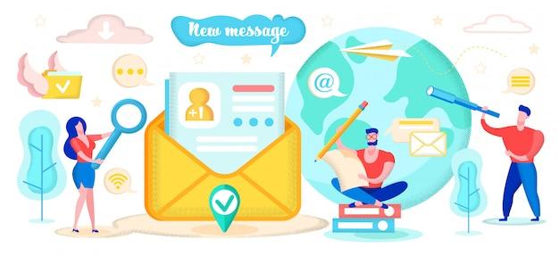 Creative illustration written new message cartoon flat.