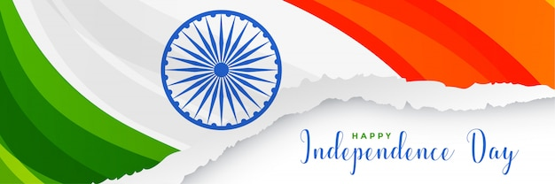 Creative indian flag banner design in paper cut style