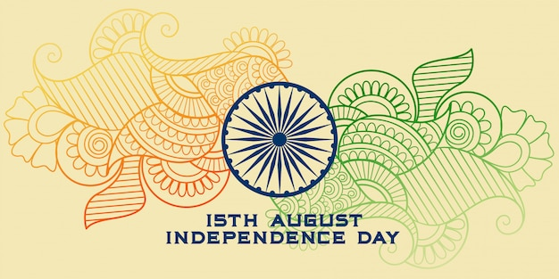Креативный индийский флаг в стиле пейсли Бесплатные векторы