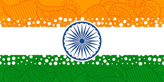 Creative indian flag with with ethnic paisley decoration