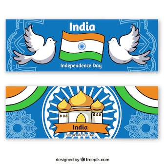 Creative indian independence day banners