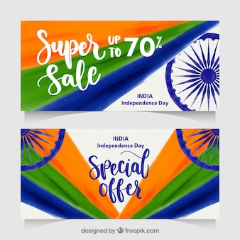 Creative indian independence day sale banners