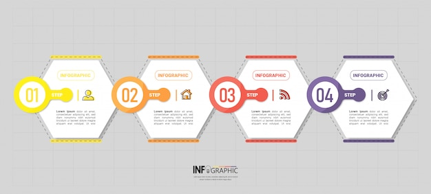 Creative infographic 4 steps template