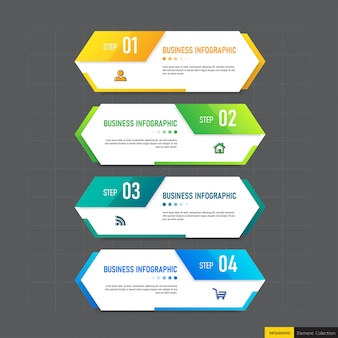 Креативная инфографика 4 шага шаблона